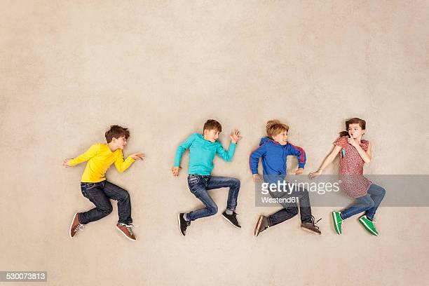 Children tiptoeing secretly