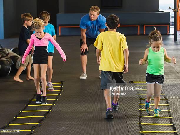 Children training in gym