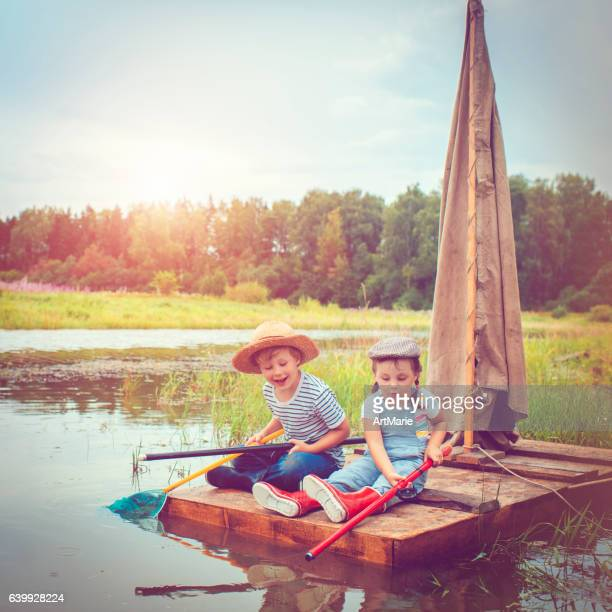 Children traveling on raft