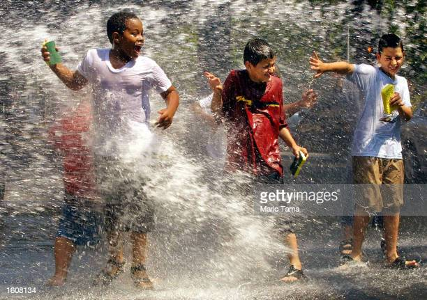 Children use a fire hydrant to cool off while washing cars August 9 2001 in Washington Heights New York City A heat wave has settled in over the East...