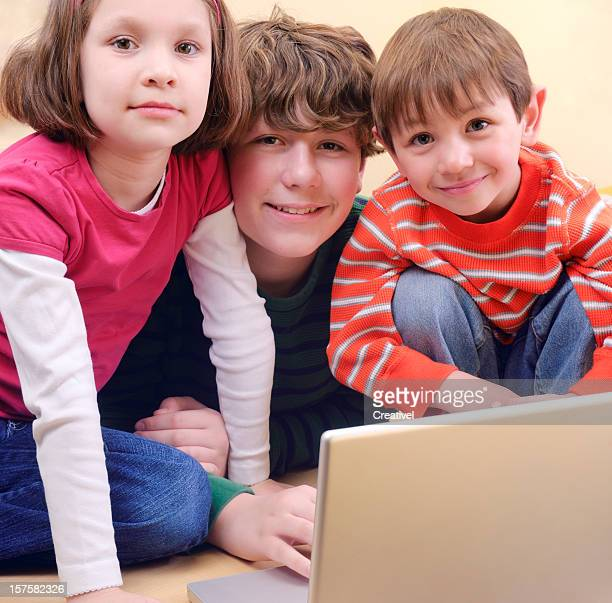 children using webcam - very young webcam girls stock photos and pictures