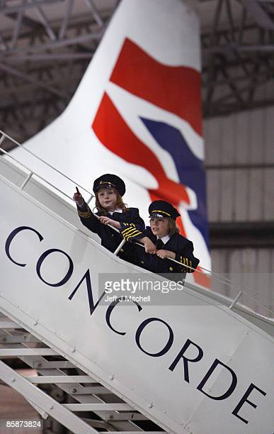 Children view a Concorde at the museum of flight in East Fortune on April 9, 2009 in Scotland. The aircraft is celebrating 40 years since its...