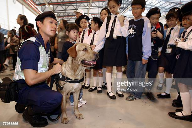 Children view police dog during the Government Flying Service Open Day on November 18 2007 in Hong Kong China Flying demonstrations including the...
