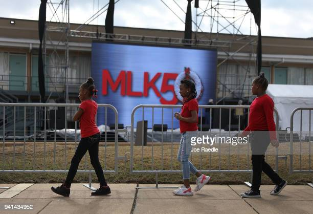 Children visit the Lorraine Motel where Dr Martin Luther King Jr was murdered and is now part of the complex of the National Civil Rights Museum as...