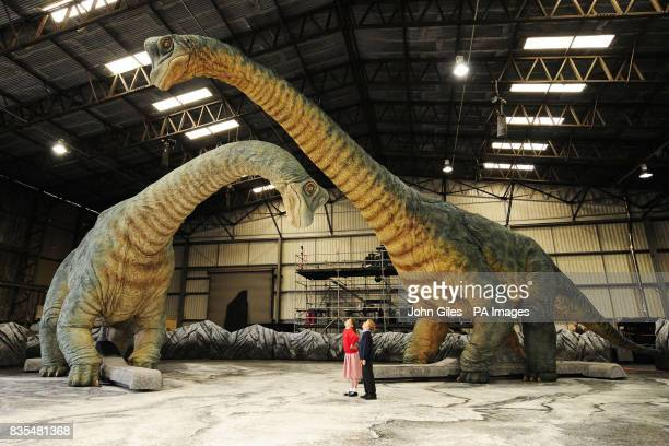 Children visiting the set of the Walking With Dinosaurs show at Tockwith North Yorkshire admire two Brachiosaurus animatronic models as they move...