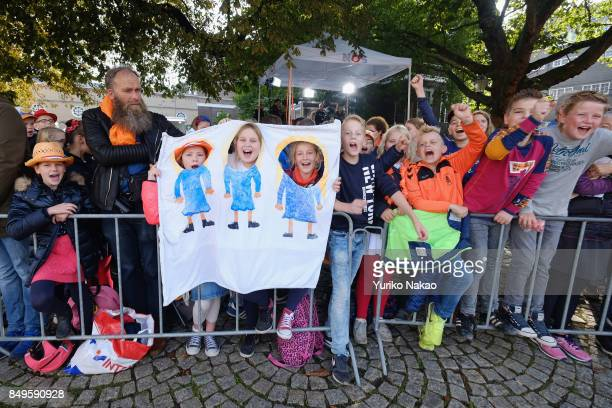 Children wait for the start of the proceedings of the King and Queen of The Netherlands for the Prinsjesdag on September 19 2017 in The Hague...