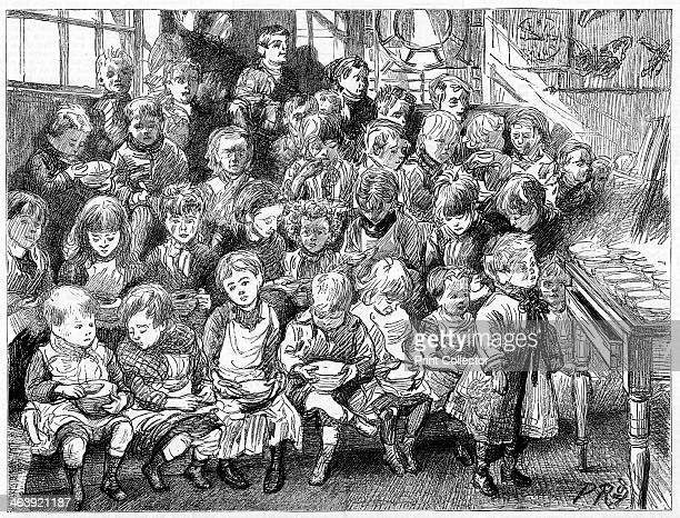 Children waiting for soup at dinner time London Board School Denmark Terrace Islington 1889 From The Graphic London 7 December 1889 This soup was...