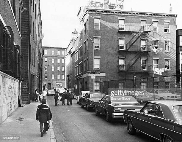 Children walk down N Bennet Street in Boston's North End on Oct 28 1977