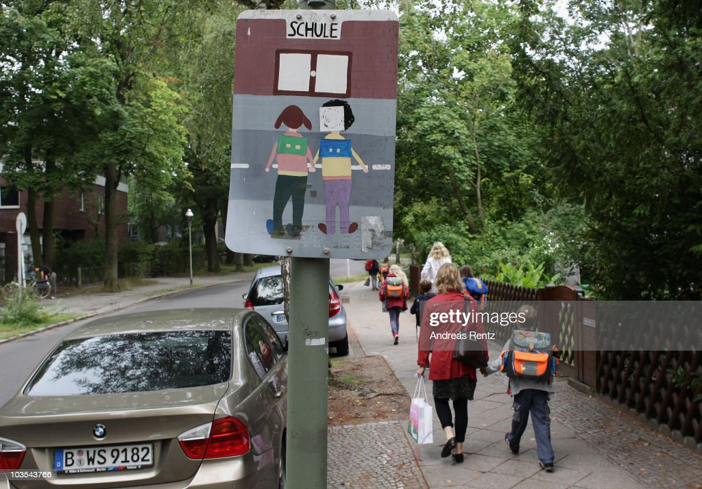 Children walk down the way on the first school day on August 23, 2010 in Berlin, Germany. Many German school districts, including those in Berlin, are reducing the school timespan from 13 to 12 years as part of a nationwide set of primary and secondary school reforms..