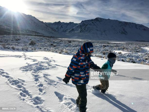 children walking and hiking in the California mountains
