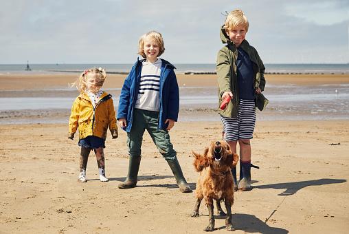 Children walking their pet puppy dog - gettyimageskorea