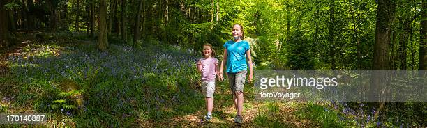 Children walking though idyllic summer forest woodland panorama