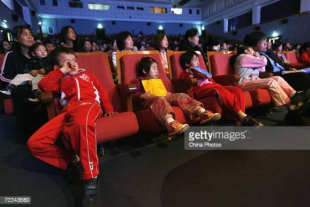 Children watch the 'Mozart's Magnificent Voyage' children's concert held to mark the 250th anniversary of the birth of Mozart on October 22 2006 in...