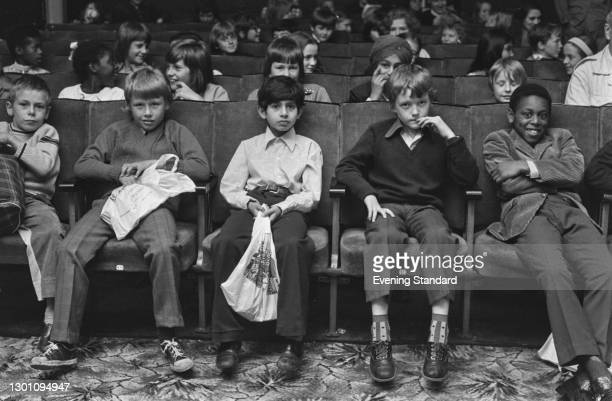 Children watching a movie at the Bankside Film Theatre in London, UK, 27th July 1973.