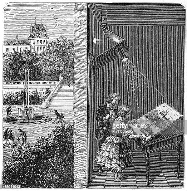 Children watching an outdoor scene through a camera obscura 1887 From Natural Philosophy by A Ganot