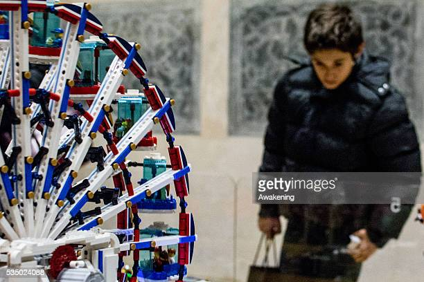 A children watching at the constructions made with Lego In the San Gregorio Church on december 2015 an exposition of Lego buildings on the occasion...