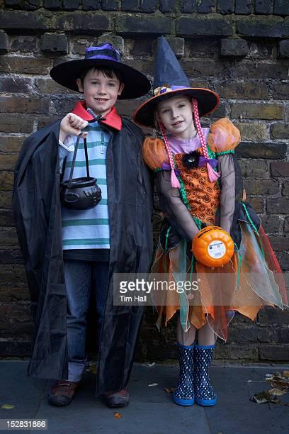 Children wearing Halloween costumes