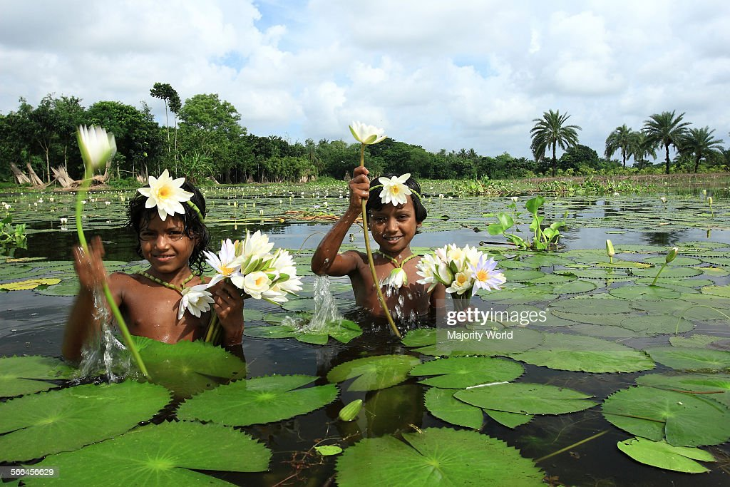 Children wearing ornaments made of water lily : News Photo