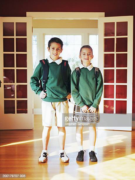 children (6-12) wearing school uniforms, portrait - little girls up skirt stock pictures, royalty-free photos & images