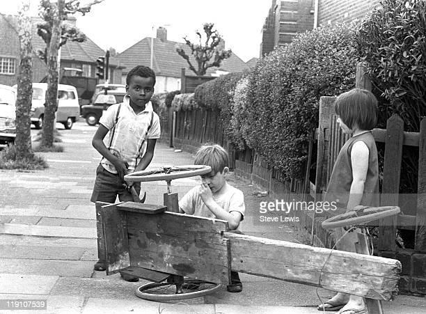 Children with a homemade gocart east London circa 1970