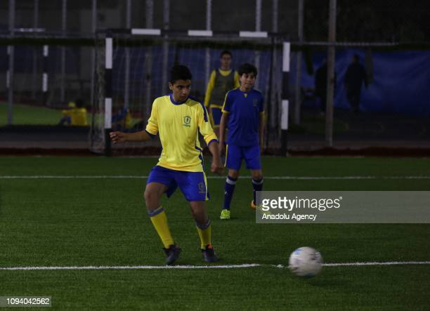 A children with cancer in action during a training session in Gaza City Gaza on February 04 2019 Champions Club Sport Academy gives soccer trainings...