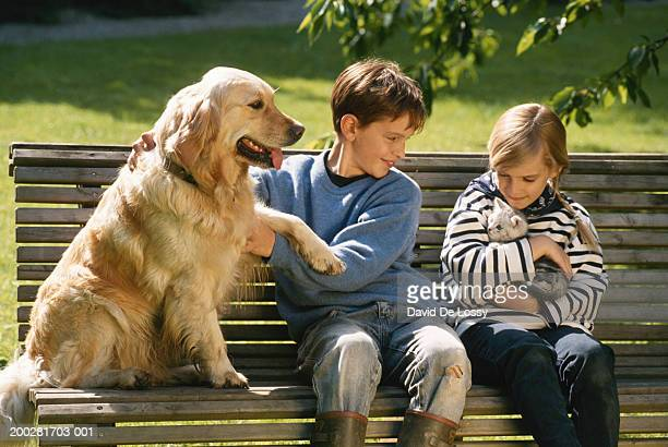 Children (6-9) with cat and dog sitting on bench