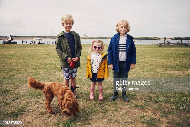 Children with their dog