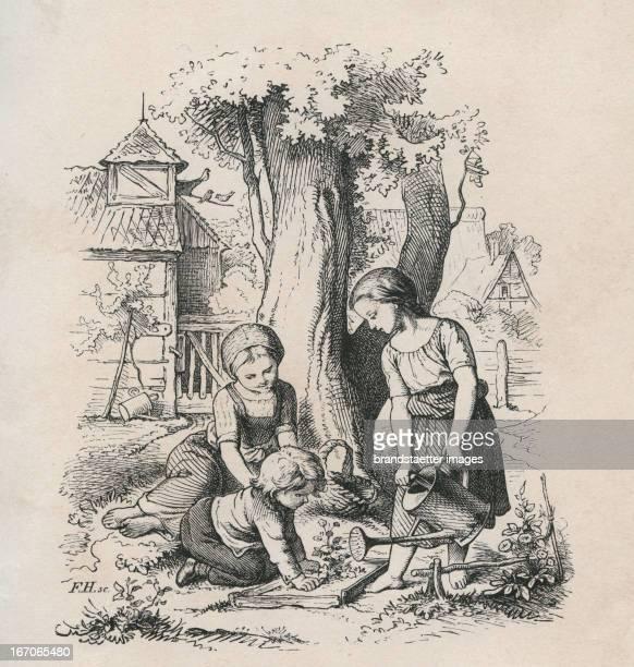 Children with watering can pouring flowers Steel engraving from Oscar Pletsch Jahr ein Jahr aus im Elternhaus 1861 Dresden Verlag von JH Richter...