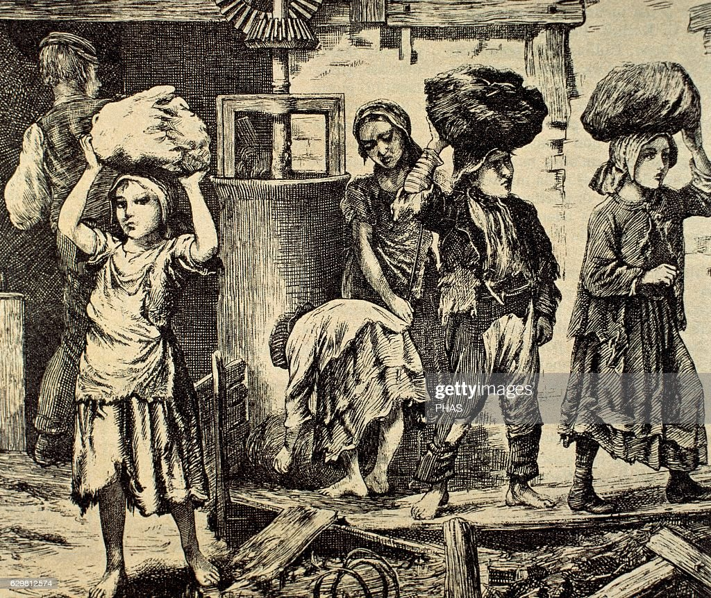 Children working in an industry. Early 19th century. Engraving. : News Photo