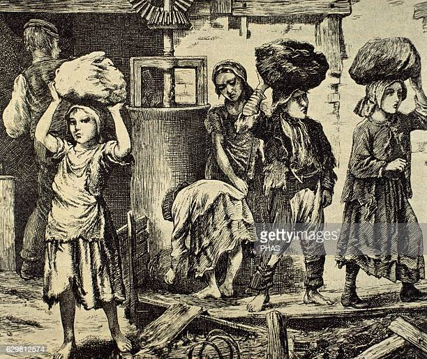 Children working in an industry Early 19th century Engraving