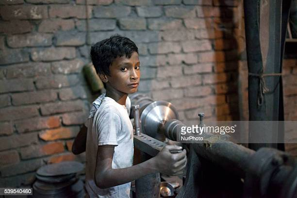 Children working riskey environment inside Aluminium pot factory in Dhaka Bangladesh on June 11 2016 According to ILO more than 168 million children...