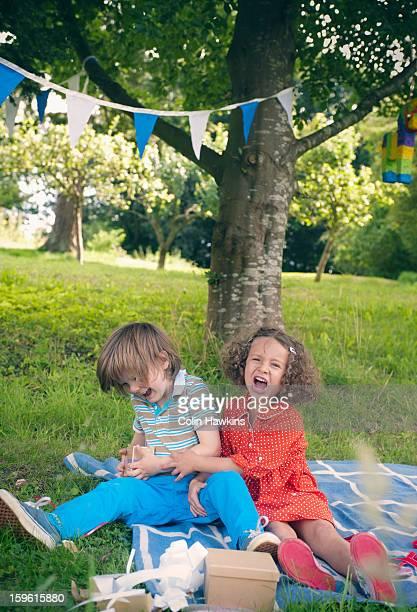Children yelling at birthday picnic