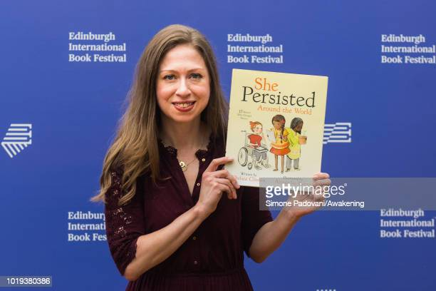 Children's author Chelsea Clinton attends a photocall during the annual Edinburgh International Book Festival at Charlotte Square Gardens on August...