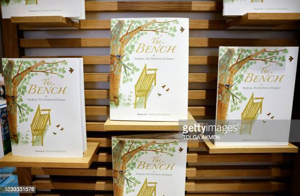 Children's book 'The Bench' by Meghan, Duchess of Sussex, which is inspired by her husband Harry and her son Archie, is pictured on display in a...