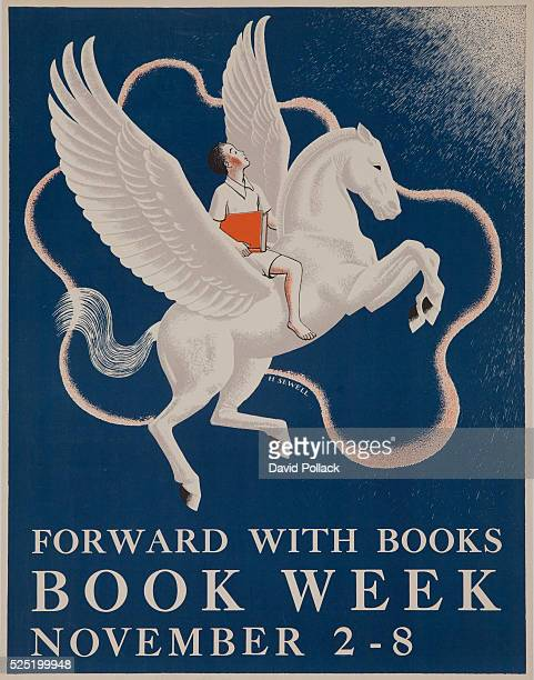 Children's Book Week poster illustrated by H Sewell showing a young boy proudly holding a book while riding on the back of a Pegasus