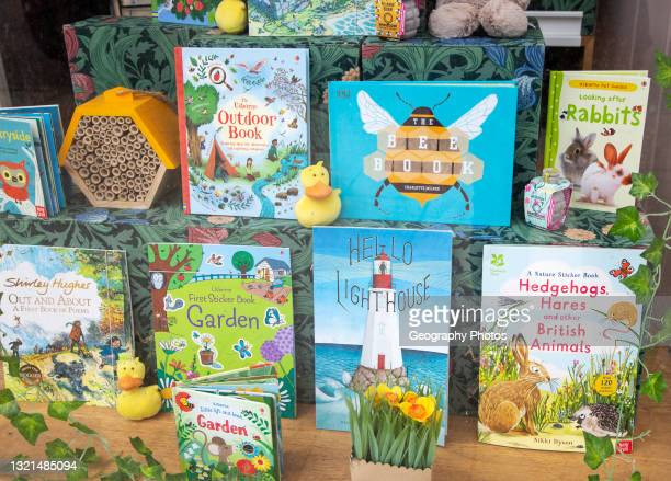 Children's books display in book shop window, Southwold Books, Suffolk, England, UK.