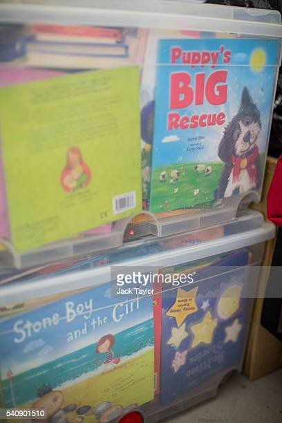 Childrens books to be delivered to refugees and migrants living in Calais at a storage facility in London on June 17 2016 in London England Despite...