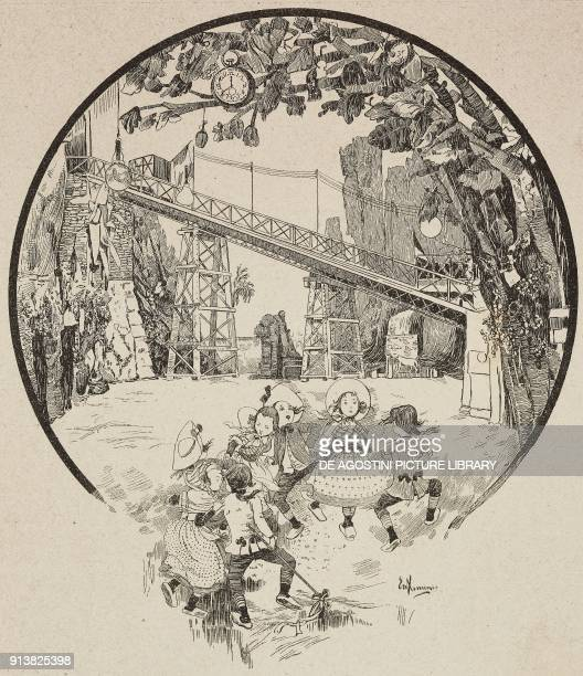 Children's Carnival Cannobiana Theatre Ambrosian Carnival Milan Italy engraving after a drawing by Empedocle Ximenes from L'Illustrazione Italiana...