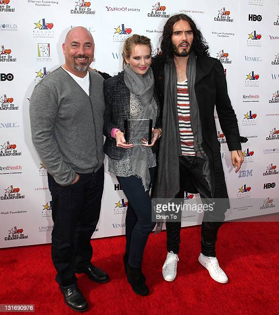 Children's Choice Award winners Adam Venit Trina Venit and actor Russell Brand attend Yahoo Sports presents 'A Day of Champions' at Sports Museum of...