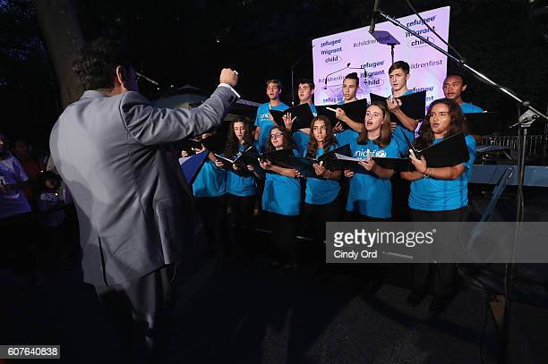 Children's Choir performs at US Fund for UNICEF as it calls on world leaders to put children first during a candlelight vigil at Dag Hammarskjold...