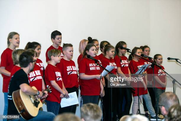 A children's choir sing for Crown Princess Mary of Denmark during the Princess' visit at The Christmas Seal Foundation's home opening on January 12...
