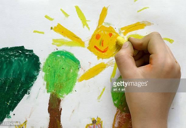 Enfants dessin de printemps