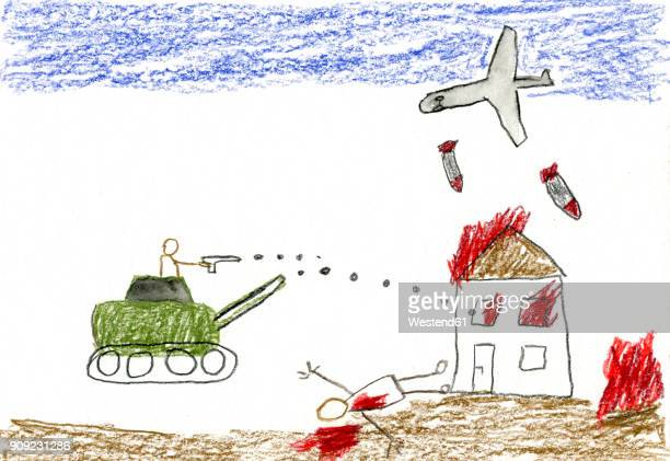 Children's drawing of war