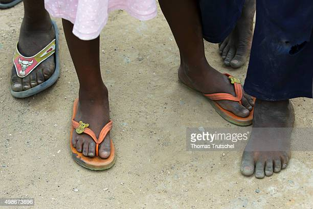 Children's feet in the district 'Garden Compound' on November 20 2015 in Lusaka Zambia