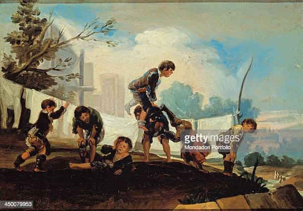 Children's Games Boys playing leapfrog by Francisco Goya y Lucientes 18th Century oil on canvas 29 x 41 cm