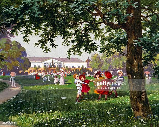 Children's games in the Stadtpark in Vienna watercolour Austria 19th century