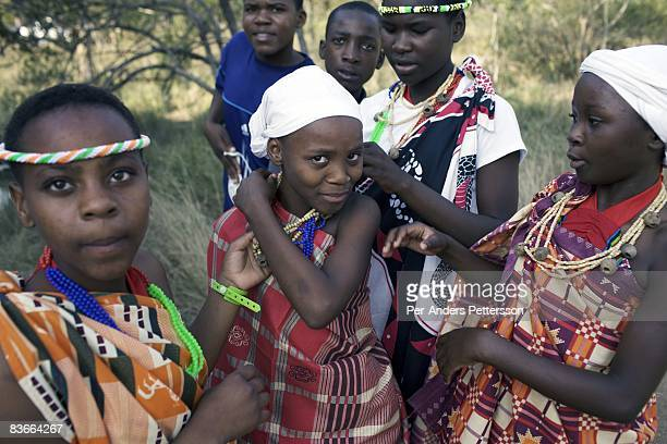 A children's group prepares to perform a traditional dance during a festival organized during the Biodiversity day on May 17 2008 at Hoedspruit South...
