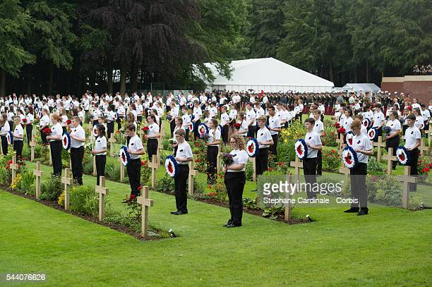 Childrens hold flowers as they take part in Somme Centenary Commemoration on July 1, 2016 in Thiepval, France.