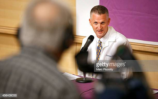 Children's Hospital Colorado expert Samuel Dominguez MD PhD microbial epidemiologist speaks during a press conference at the hospital September 30 to...