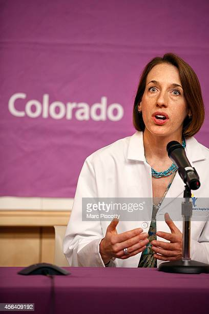 Children's Hospital Colorado pediatric neurologist Teri Schreiner MD speaks during a press conference at the hospital September 30 to update the...